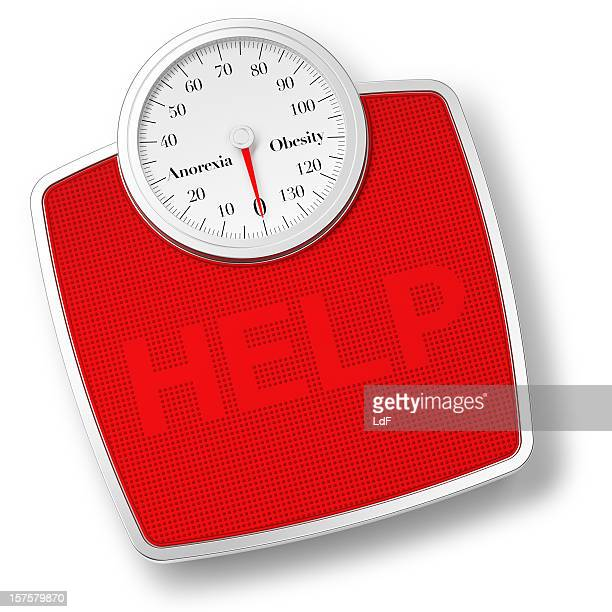 Bathroom Scale isolated on withe and HELP writing
