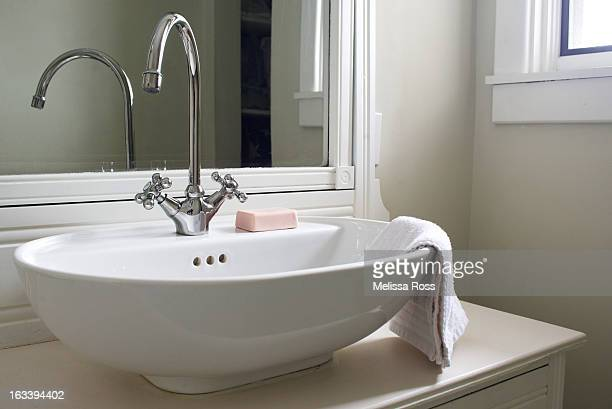 Bathroom sink with goose neck faucet.