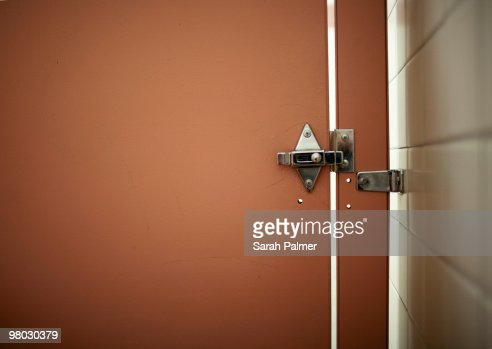 Bathroom stall door and lock