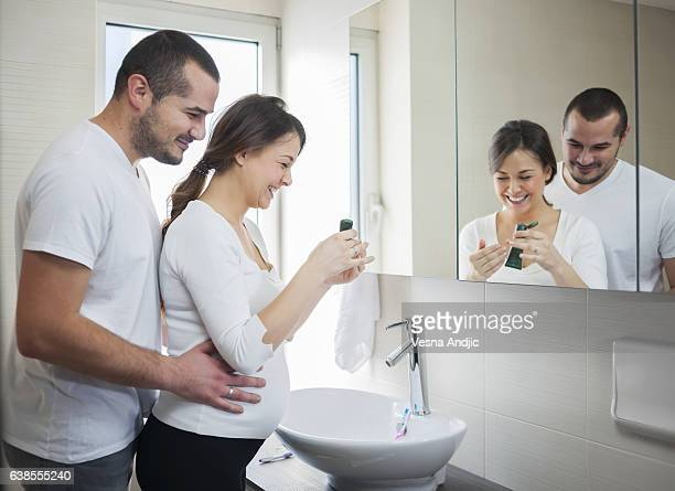 Couple And Kiss And Bathroom Stock Photos And Pictures