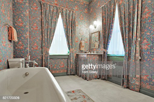 Curtains Ideas curtains matching wallpaper : Bathroom With Patterned Wallpaper And Matching Curtains Stock ...