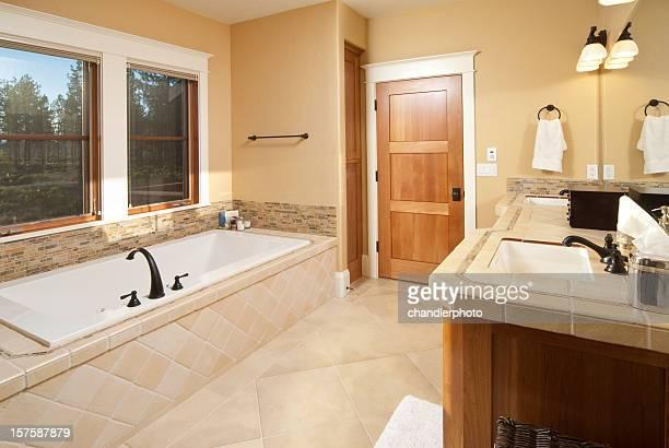 bathroom with sunken bathtub