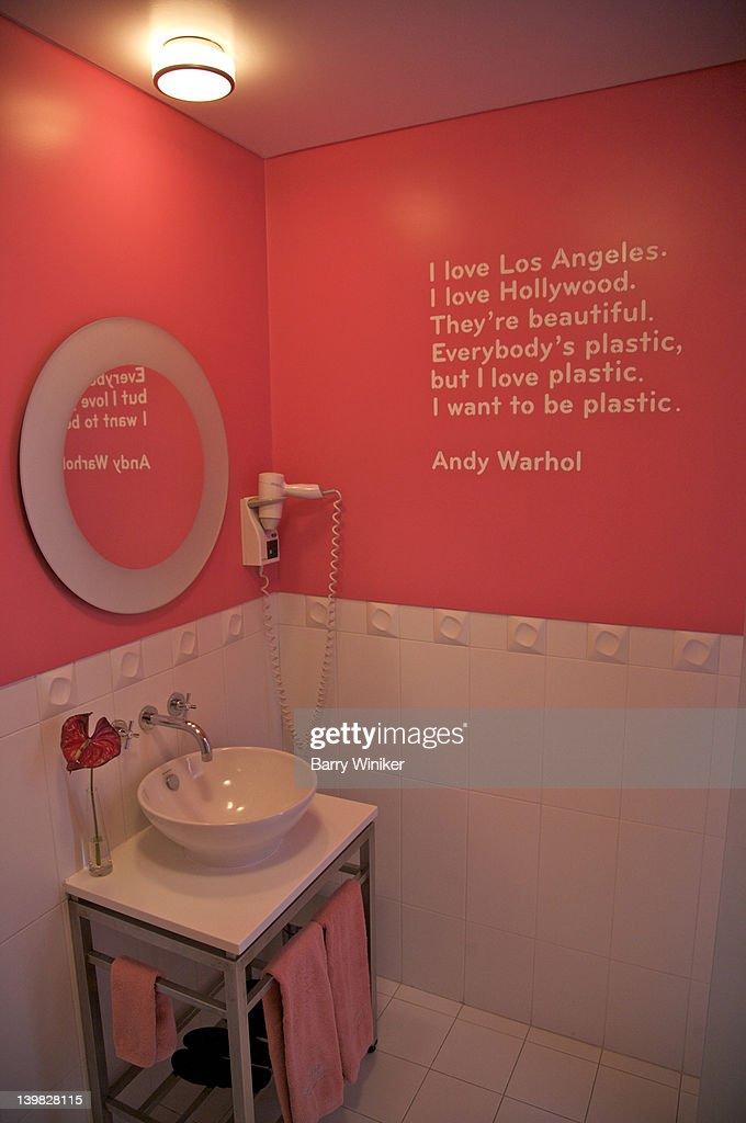 Bathroom Wall Writing bathroom with writing on wall at international design hotel lisbon