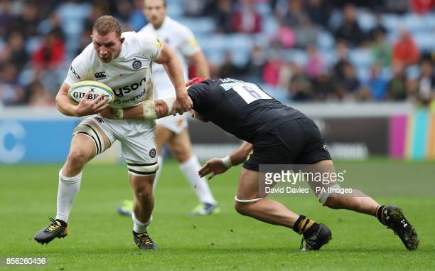 Bath's Sam Underhill is tackled by Wasps James Haskell during the Aviva Premiership match at the Ricoh Arena Coventry
