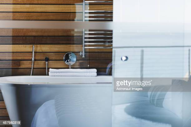 Baignoire et cabine de douche en verre dans la salle de bains moderne