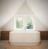 Bathtub by window