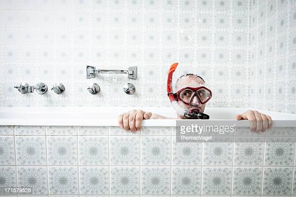 Badewanne und Schnorcheln
