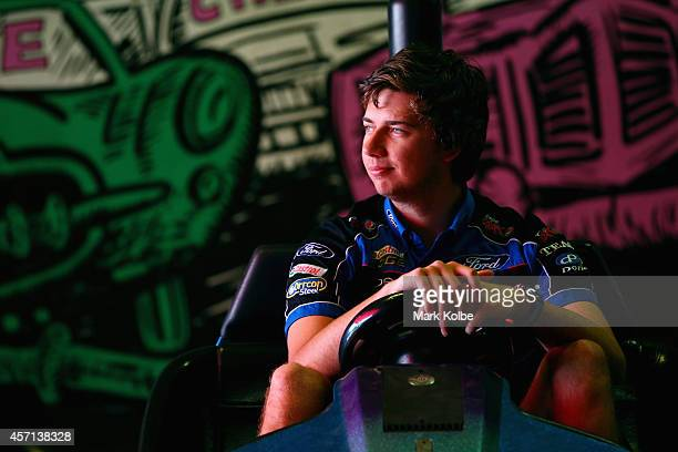 Bathurst 1000 winner Chaz Mostert of the Pepsi Max Crew Ford poses as he sits in a dodgem car at Luna Park on October 13 2014 in Sydney Australia