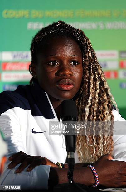 Bathy Mbock of France talks to the media during the France U20 Women's national team press conference at Olympic stadium on August 4 2014 in Montreal...
