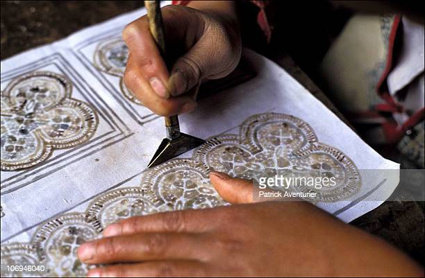 Batik is prepared by a member of the Miao ethnic minority group September 1993 in Guizhou Province China The Miao are a linguistically linked group...