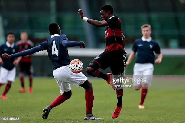 Batista Mendy of France challenges CharlesJesaja Herrmann of Germany during the UEFA Under16 match between U16 France v U16 Germany on February 6...