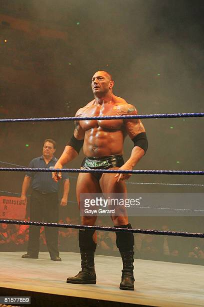 Batista stands in the ring before facing World Heavyweight Champion Edge during WWE Smackdown at Acer Arena on June 15 2008 in Sydney Australia