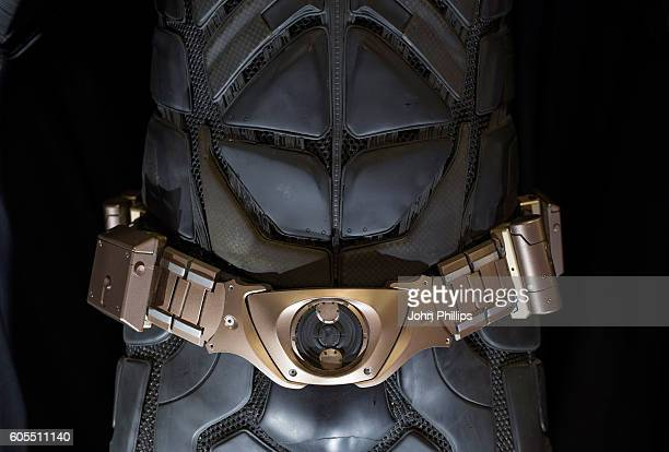 BatmanÕs Batsuit from The Dark Knight Rises estimated at £40k£60k goes on display ahead of the Prop Store Rare Film and TV Memorabilia auction at BFI...