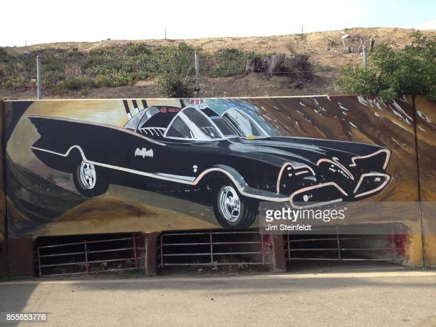 Batmobile street art in North Hollywood California on June 30 2013