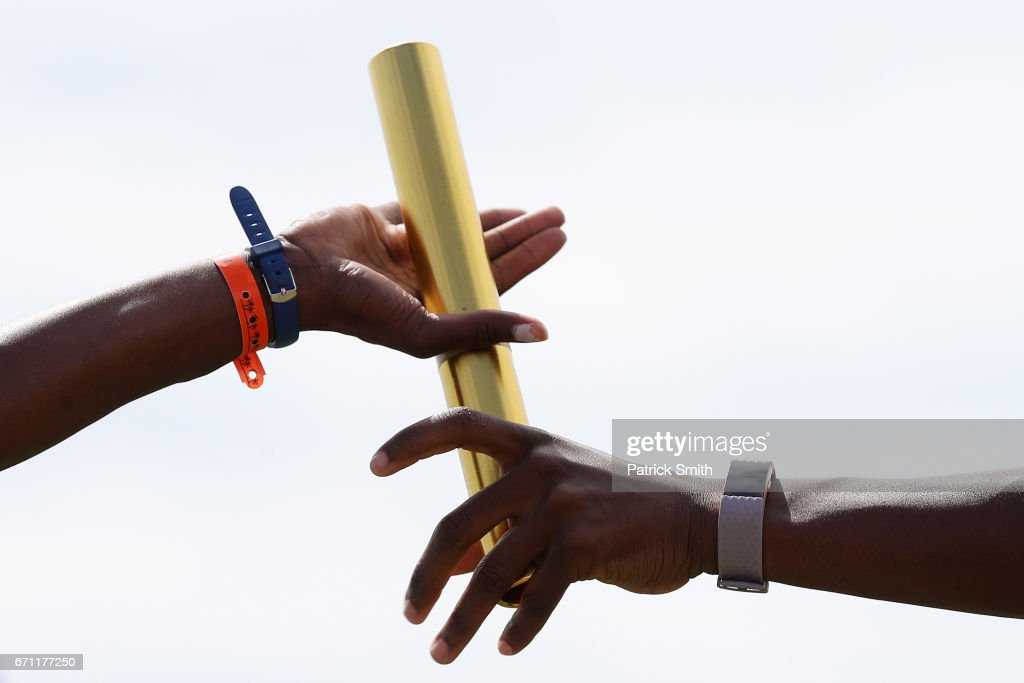 A baton is handed off as athletes practice prior to the IAAF / BTC World Relays Bahamas 2017 at the Thomas Robinson Stadium on April 21, 2017 in Nassau, Bahamas.