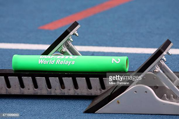 A baton is seen during round one of the men's 4 x 400 metres relay on day one of the IAAF World Relays at Thomas Robinson Stadium on May 2 2015 in...
