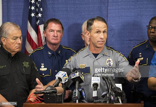 Baton Rouge Chief of Police Carl Dabadie speaks during a press conference at the Office of Homeland Security and Emergency Preparedness on July 10...