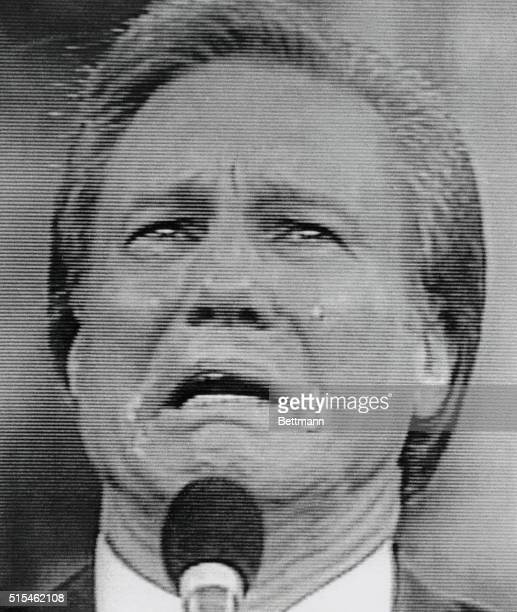 Reverend Jimmy Swaggart tearfully looks up to heaven asking for God's forgiveness as he resigns from his ministry on February 21 due to allegations...