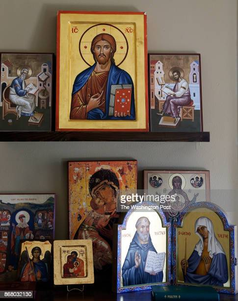 Baton Rouge LA Sept 11 2017 New Orleans Louisiana United States The Icon corner in the home of author and blogger Rod Dreher depicts Jesus Christ at...