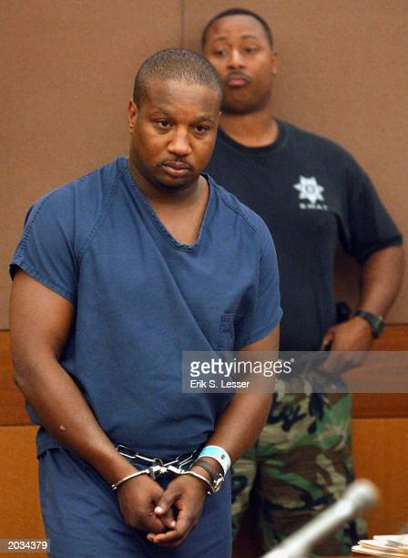 Baton Rouge serial murder suspect Derrick Todd Lee appears in Fulton County Superior Court for an extradition hearing May 28 2003 in Atlanta Georgia...