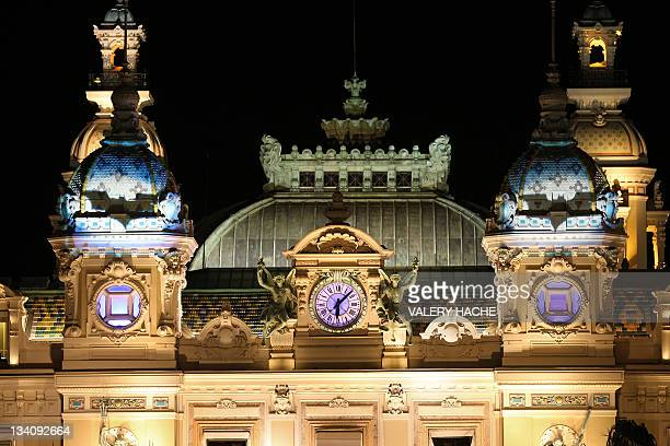 Bats are projected onto the facade of the opera as part of the arrival of new slot machines at the 'Cafe de Paris' Casino on November 25 2011 in...