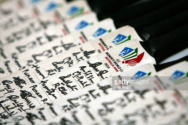 Bats signed by the Indian team lay on a table during the ICC Women's World Cup 2009 media conference held at the Menzies Hotel on March 5 2009 in...