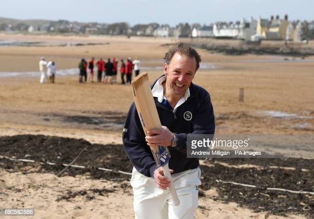 A batsman leaves the 'field' after being hit out during the beach cricket match in Elie between the Ship Inn cricket team in Elie Fife and Eccentric...