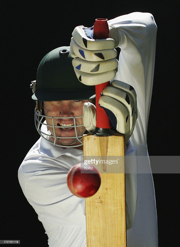 Batsman Playing Defensive Stroke