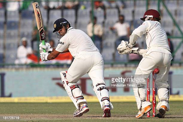 Batsman Rahul Dravid of India in action during the second day of the first Test match between India and West Indies played at the Ferozshah Kotla...