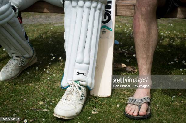 A batsman waits for his turn during the annual friendly match between Cravens Cavaliers and Lynton amp Lynmouth Cricket Club at the ground based...