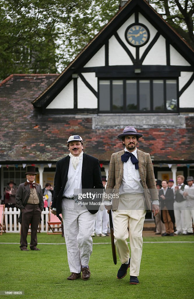 Batsmen of the Wisden XI and the Authors XI take to the field for a Victorian cricket match at Vincent Square on May 29, 2013 in London, England. The match celebrates the 150th anniversary the Wisden Cricketers' Almanack. The almanack is a cricket reference book published annually in the United Kingdom.