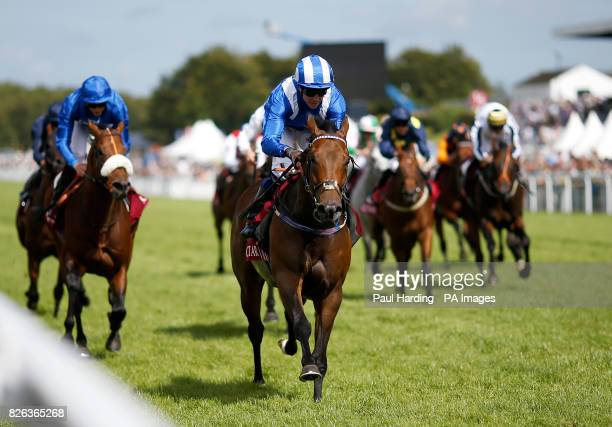 Battaash ridden by jockey Jim Crowley coming home to win the Qatar King George Stakes during day four of the Qatar Goodwood Festival at Goodwood...
