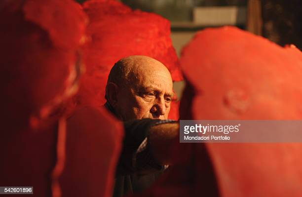 Battaglia artistic foundry in Milan This is the foundry where the works by Italian sculptor Arnaldo Pomodoro are made The artist working on a wax...