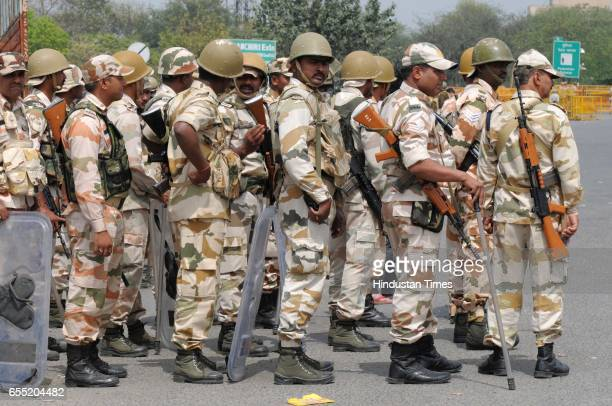 ITBP battalion deployed at DelhiGurgaon Sarhaul border due to Jat agitation on March 19 2017 in Gurugram India The community is planning to hold...