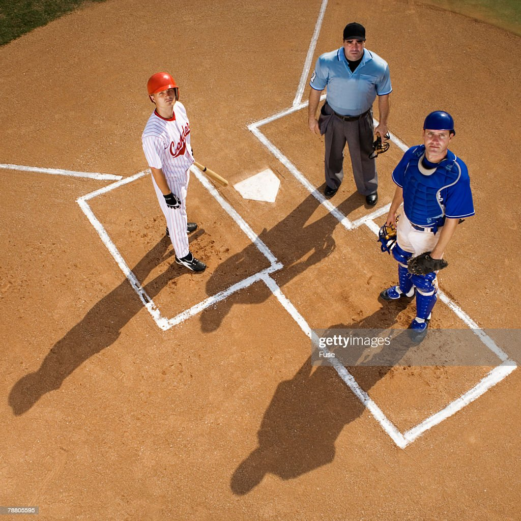 Batter, Catcher and Umpire : Stock Photo