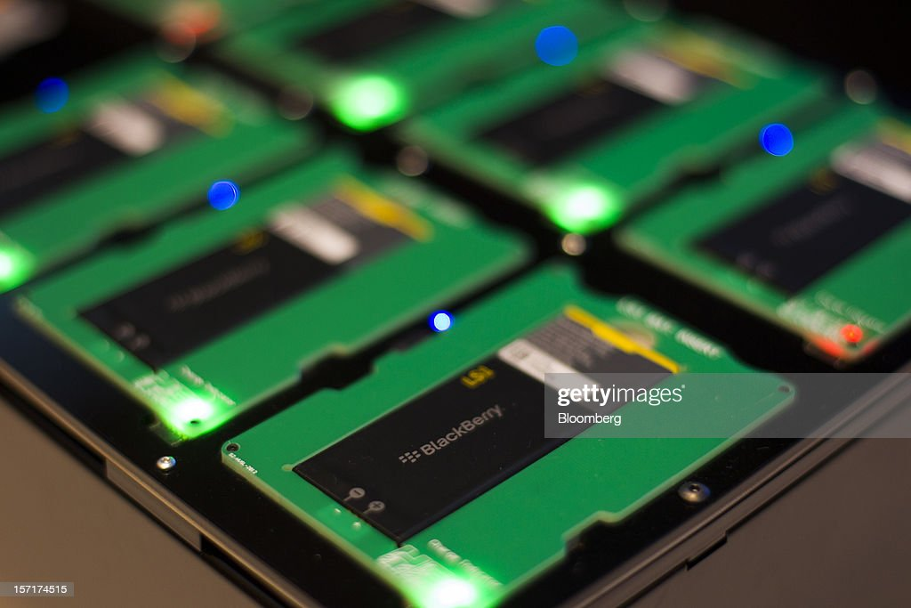 Batteries for Research In Motion Ltd. (RIM) BlackBerry 10 smartphone prototypes are displayed at the BlackBerry Jam Asia developer conference in Bangkok, Thailand, on Thursday, Nov. 29, 2012. RIM gained after Goldman Sachs Group Inc. upgraded the stock to buy, saying the new BlackBerry 10 phones could help it return to profitability in fiscal 2014. Photographer: Brent Lewin/Bloomberg via Getty Images