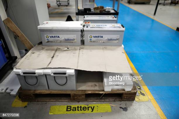 Batteries to be used on Enviro buses sit on the floor of the Alexander Dennis Ltd factory in Guildford UK on Monday Sept 11 2017 Manufacturing in the...