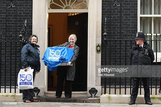 Battersea Dogs and Cats home CEO Claire Horton delivers 'Larry' the new Downing Street cat to 10 Downing Street on February 15 2011 in London England...
