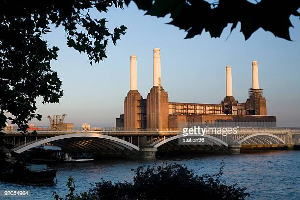 Battersea power station and the Thames, London