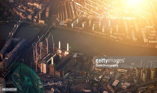 Battersea Power Station in London, aerial view