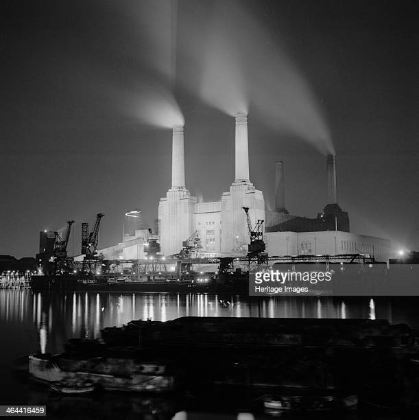 Battersea Power Station London 19451980 View from the north bank of the Thames It was designed in 1937 by Sir Giles Gilbert Scott and was the largest...