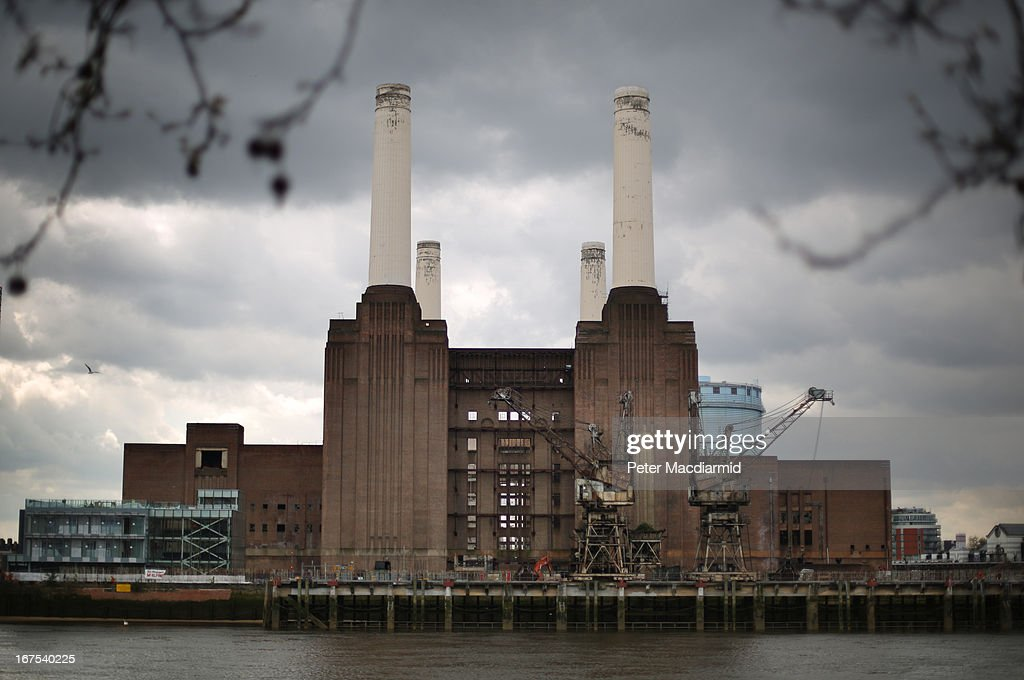 Battersea power station on April 26, 2013 in London, England. Built in the 1930s, with an identical second section added in the 1950s, the Grade II* listed building last generated electricity in 1983. The 15.7 hectare site on the south bank of The River Thames is being re-developed. Over the next 11 years 3400 homes, office space and a theatre will be built in and around the power station which is still the largest brick building in Europe.