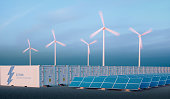 Battery energy storage concept in nice morning light. Battery energy storage with renewable energy sources - photovoltaic and wind turbine power plant farm. 3d rendering.