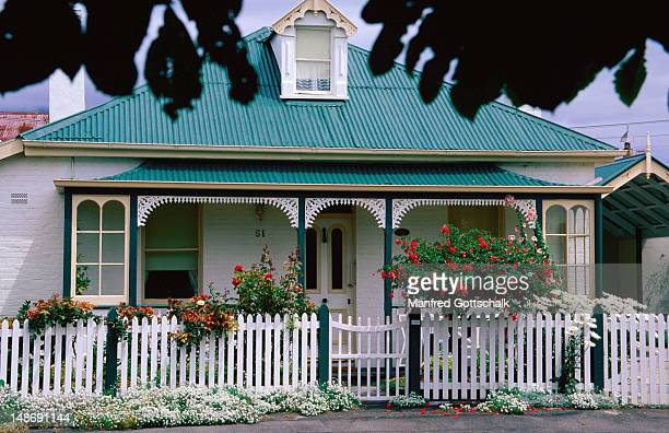 Battery Point Cottage with small front garden.
