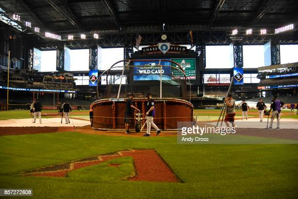 Batting cage gets set up for the Colorado Rockies practice at Chase Field October 03 2017 The Colorado Rockies will play the Arizona Diamondbacks for...