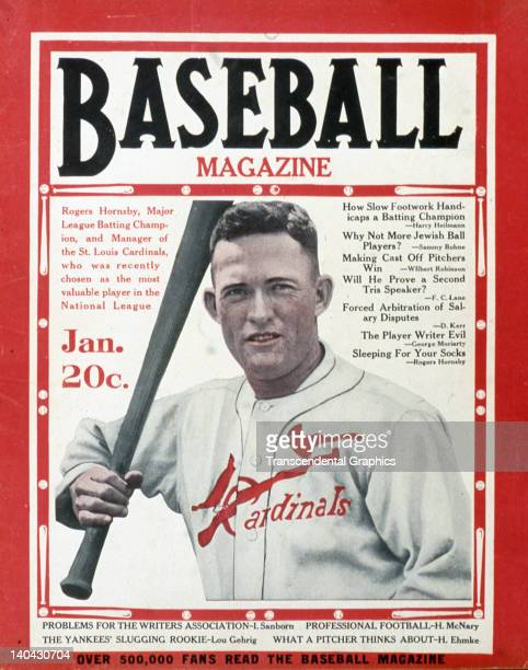 Batting Champion and recently elected MVP Rogers Hornsby of the St Louis Cardinals is the cover boy for Baseball Magazine published in New York City...