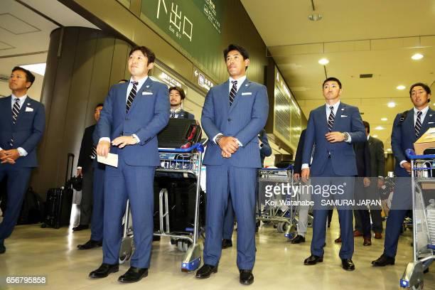 Batting coach Atsunori Inaba of Japan is seen on arrival at Narita International Airport on March 23 2017 in Narita Chiba Japan