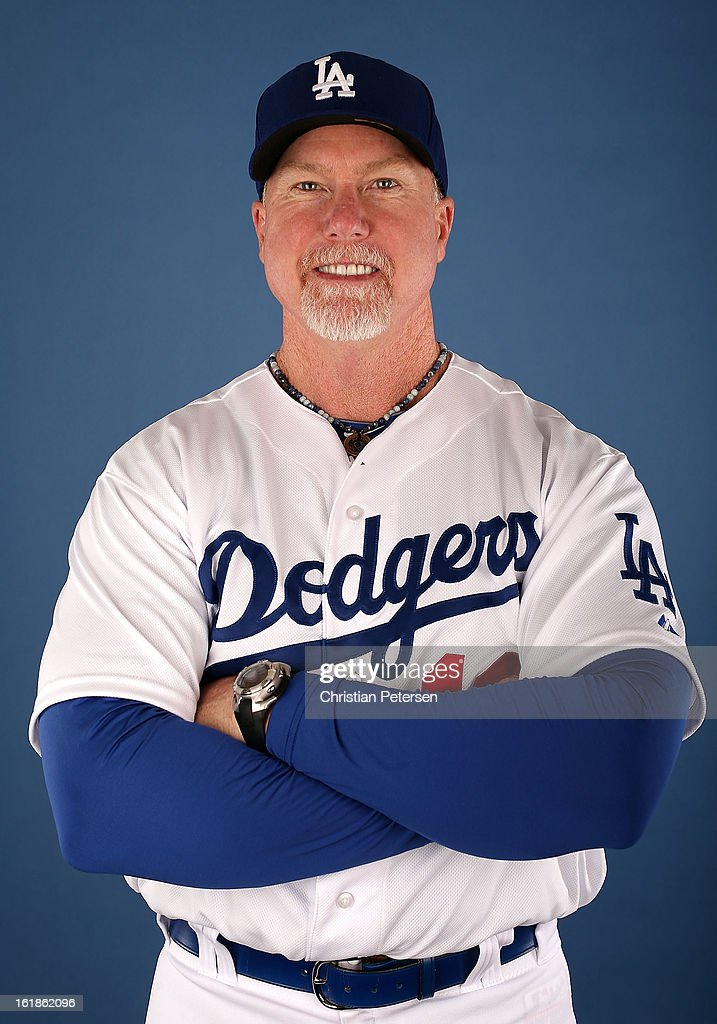 Batting coach Mark McGwire of the Los Angeles Dodgers poses for a portrait during spring training photo day at Camelback Ranch on February 17, 2013 in Glendale, Arizona.