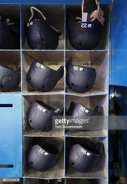 Batting helmets of Didi Gregorius of the New York Yankees and Jacoby Ellsbury and Tyler Wade Ronald Torreyes and Aaron Judge and Clint Frazier and...