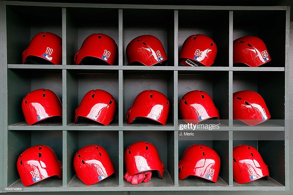 Batting helmets of the Philadelphia Phillies are seen just before the start of the Grapefruit League Spring Training Game against the Baltimore Orioles at Ed Smith Stadium on March 23, 2013 in Sarasota, Florida.